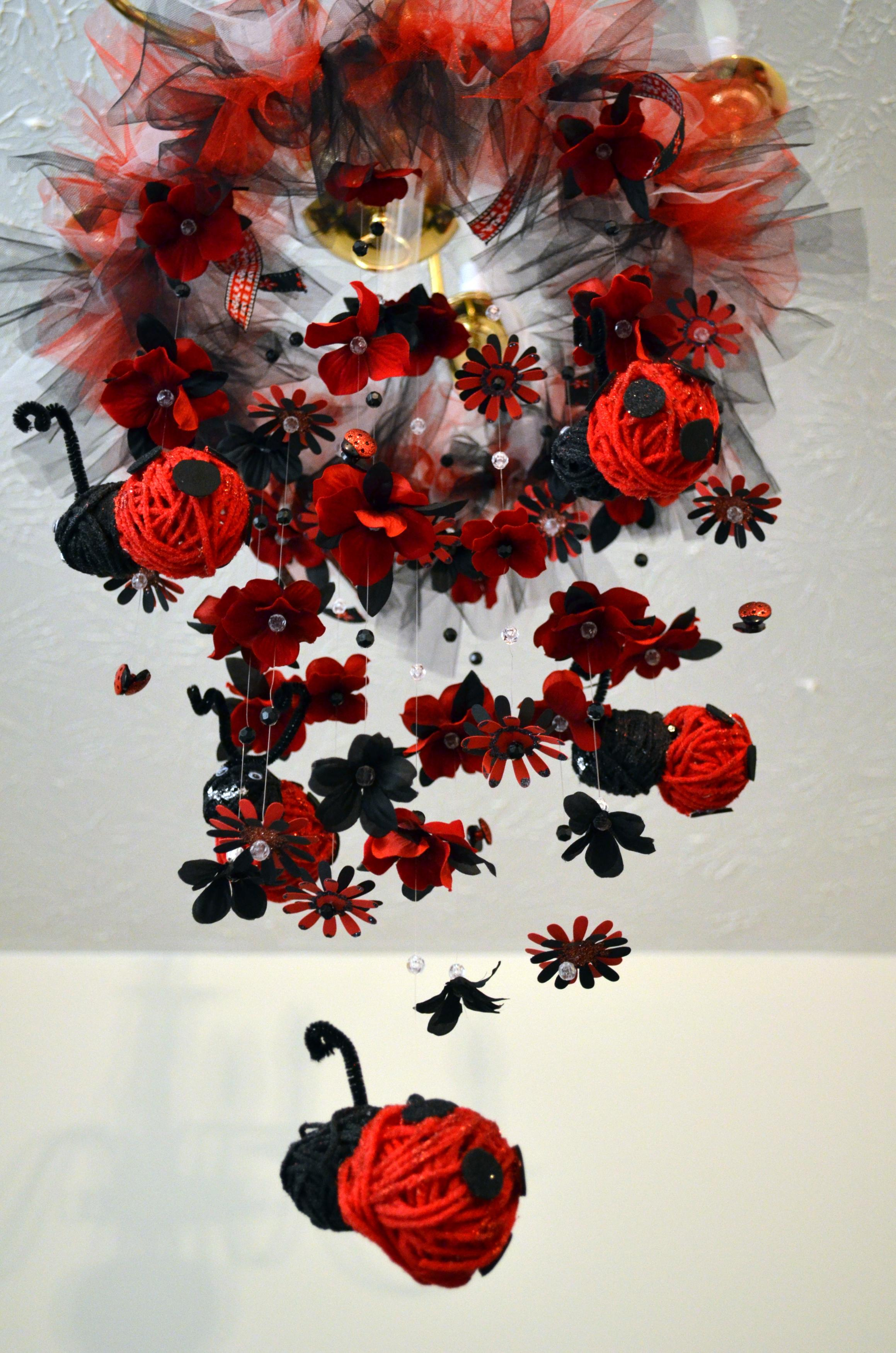 floating ladybug nursery mobile black red nursery decor baby shower